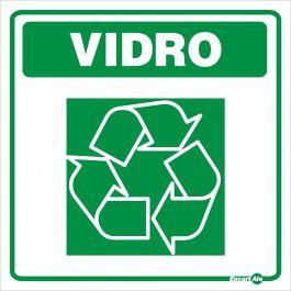 Adesivo para Sinalização Lixo Vidro 18 x 18