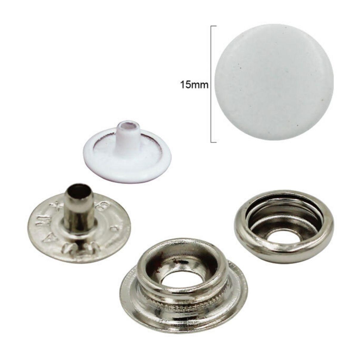 Botão de Pressão Nº 100 Ferro Branco Embalagem com 200 peças