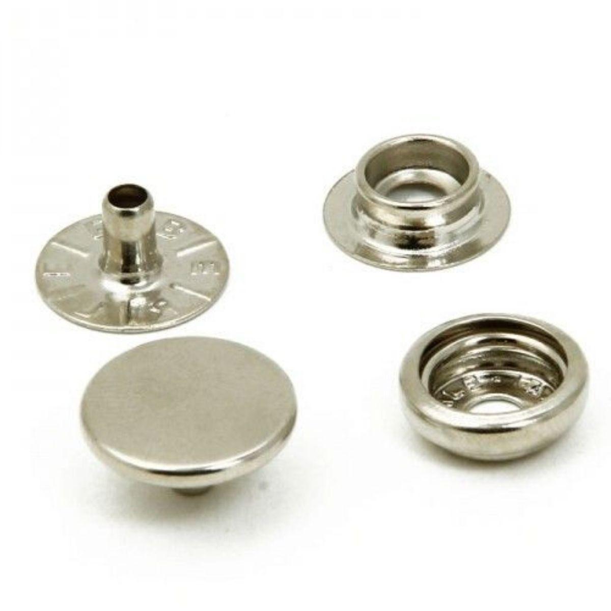 Botão de Pressão Nº 80 Ferro Niquelado Embalagem com 200 peças