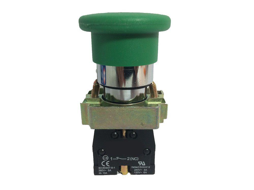 Botão Emergência Sem Retenção bloco NA LAY5 BC Metálico 22,5mm JNG