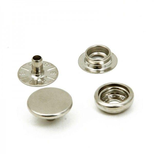 Botão de Pressão Nº 100 Ferro Niquelado Embalagem com 200 peças
