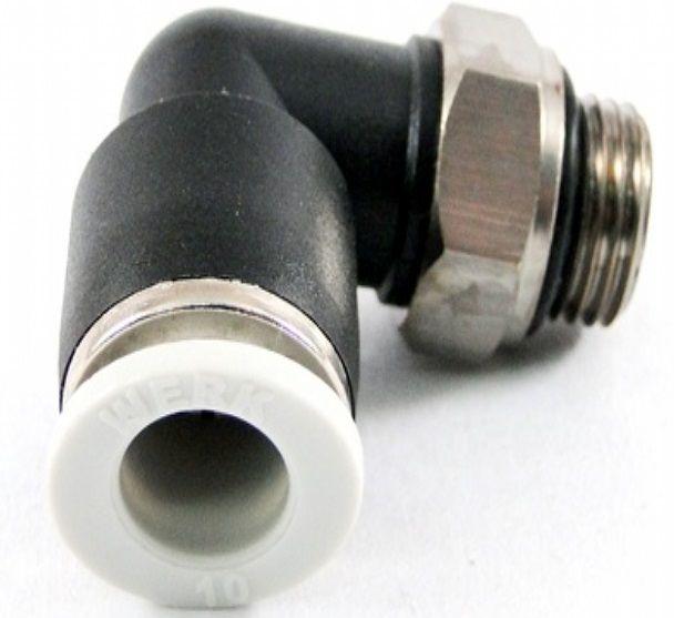 """Cotovelo Macho Giratório em """"L"""" Rosca 1/4 para tubo de 10mm"""