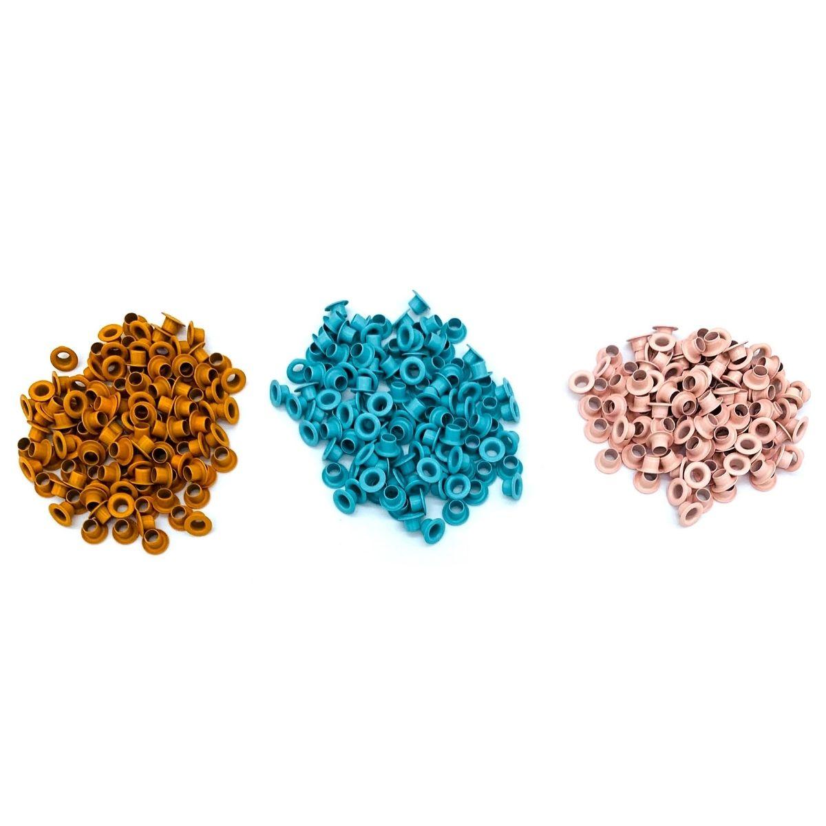 Ilhós 54 aluminio 3 cores com 500 peças cada