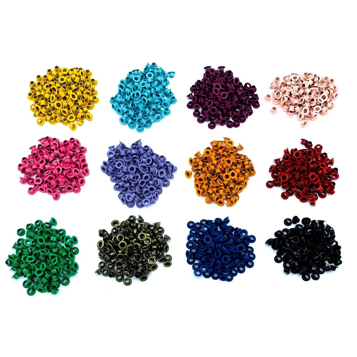 Ilhós 54 aluminio 12 cores com 100 peças cada