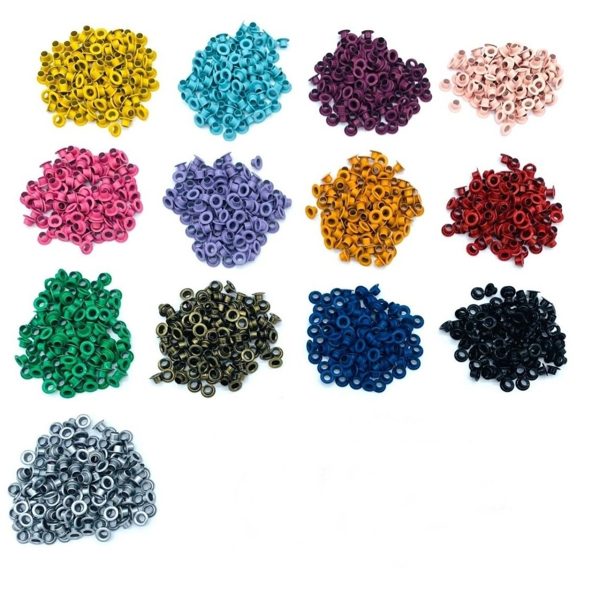 Ilhós 54 aluminio 13 cores com 100 peças cada