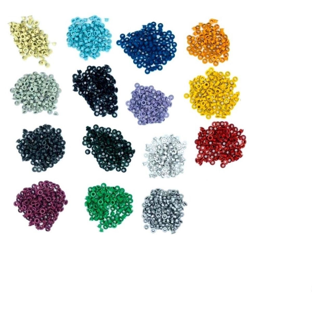Ilhós 54 aluminio 15 cores com 100 peças cada