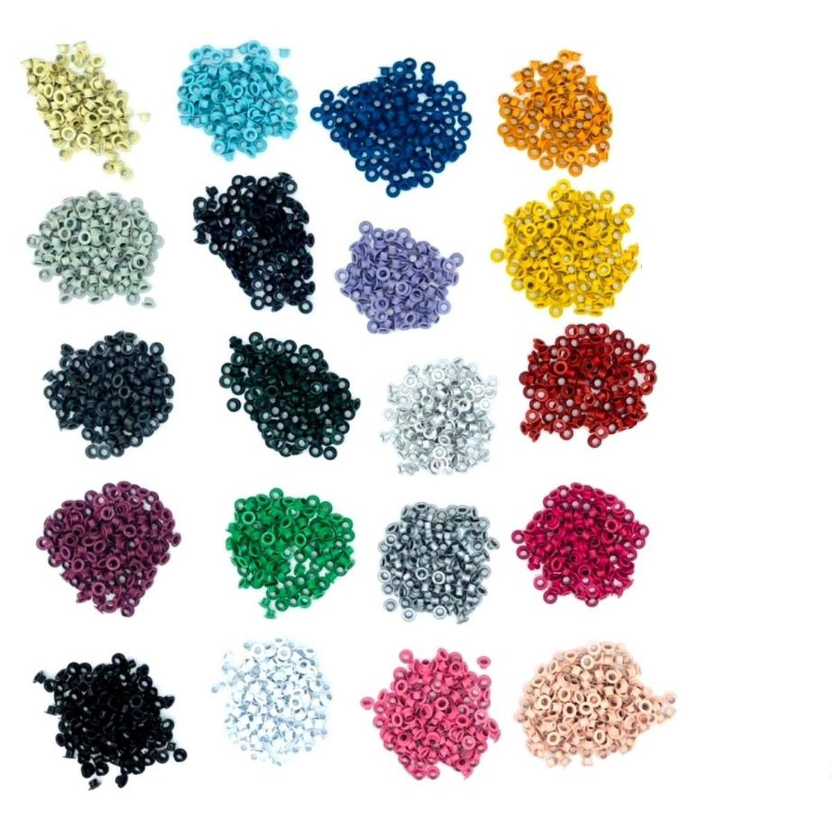 Ilhós 54 aluminio 20 cores com 100 peças cada