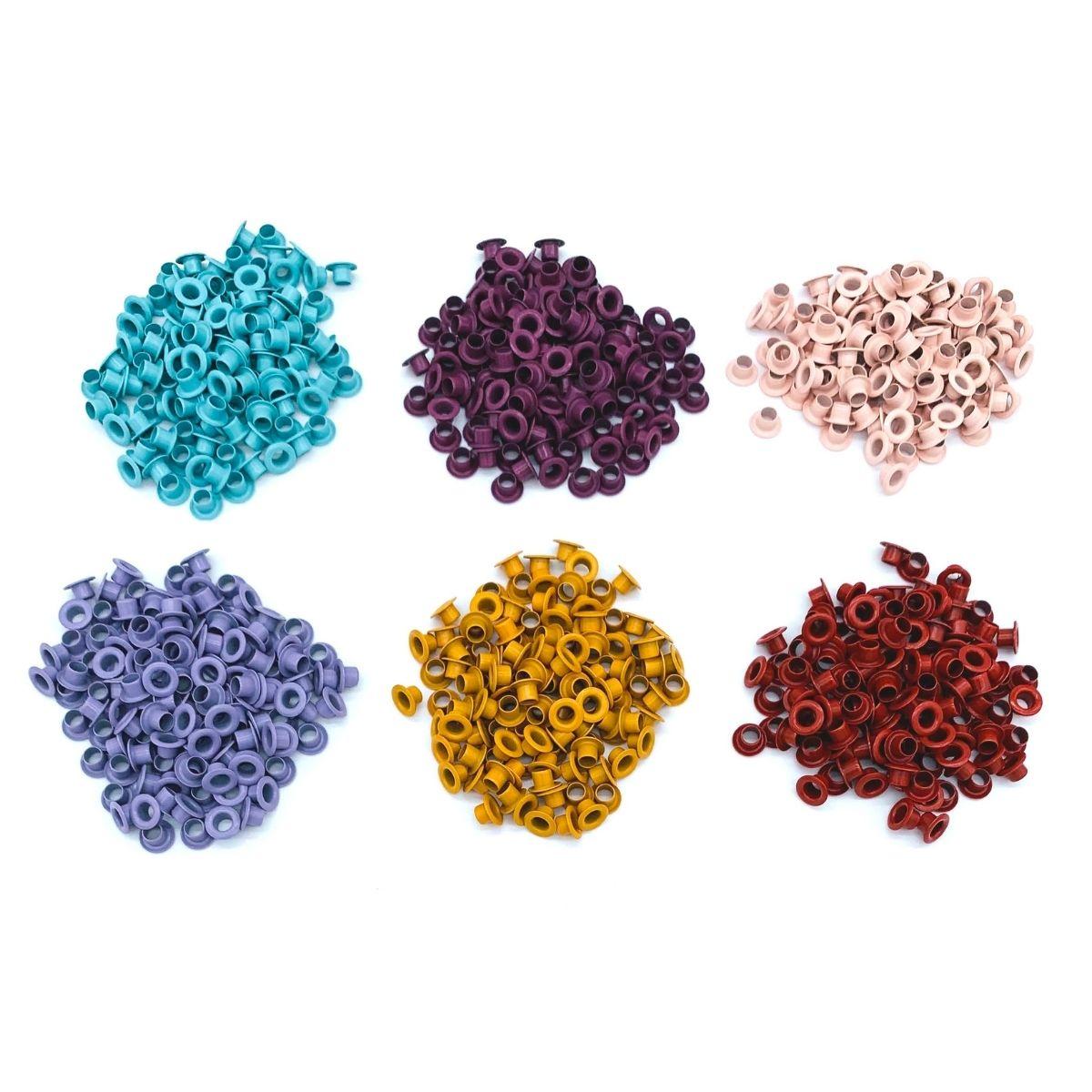 Ilhós 54 aluminio 6 cores com 100 peças cada
