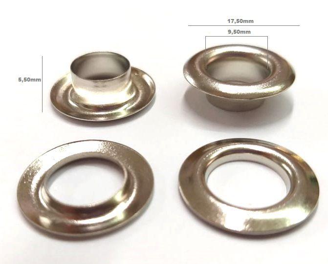 Ilhós com Arruela Alumínio Niquelado Nº 0 - 18mm externo
