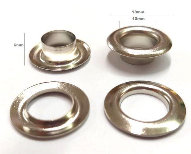 Ilhós com Arruela Alumínio Nº 0 - 18mm de diâmetro Não Enferruja
