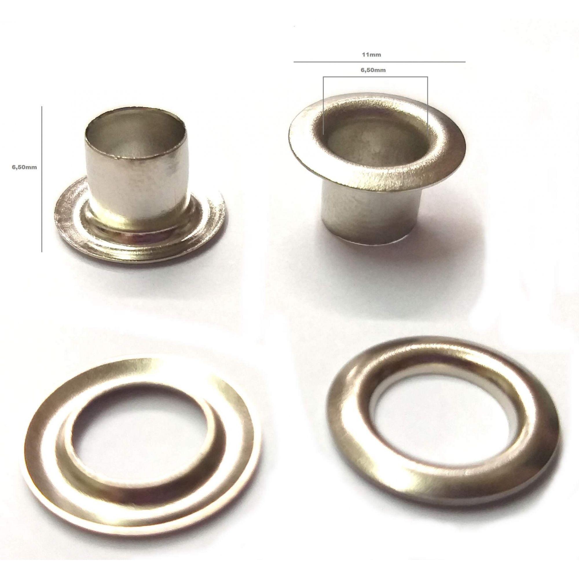 Ilhós com Arruela Alumínio Nº 50 - 11mm de diâmetro externo