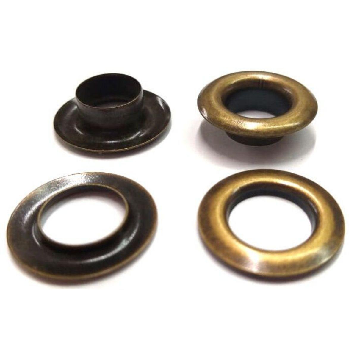 Ilhós com Arruela Ferro Ouro Velho Nº 0 18mm de diâmetro externo