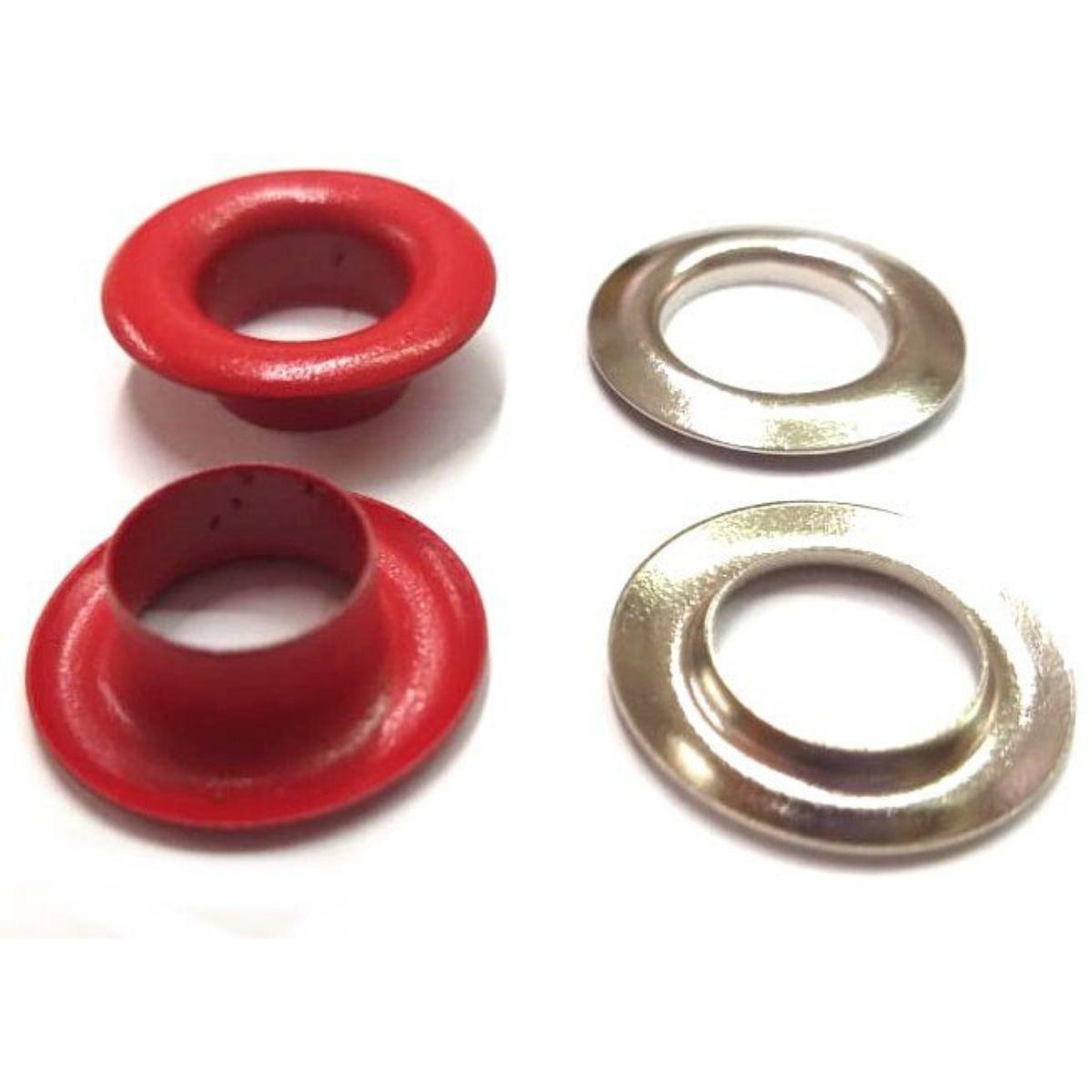 Ilhós com Arruela Ferro Vermelho Nº 0 - 18mm de diâmetro externo