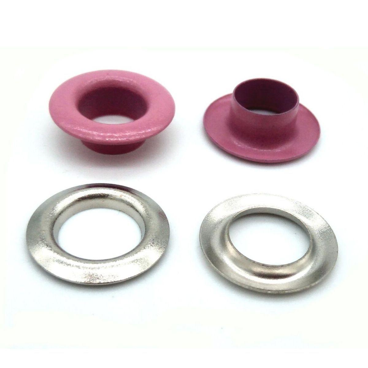Ilhós com Arruela Ferro Rosa Nº 45 15mm de diâmetro externo