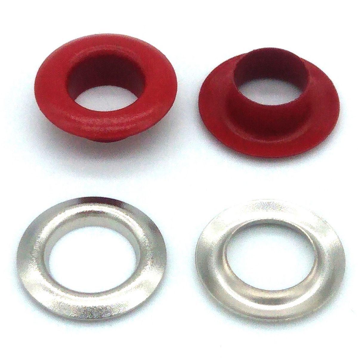 Ilhós com Arruela Ferro Vermelho Nº 45 15mm de diâmetro externo