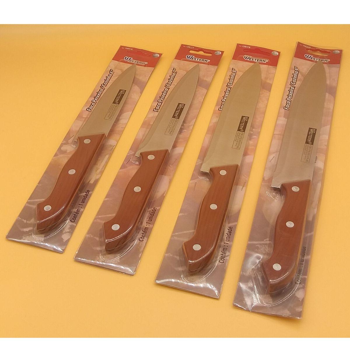 Kit com 4 Facas Western Peixeira / Cozinha