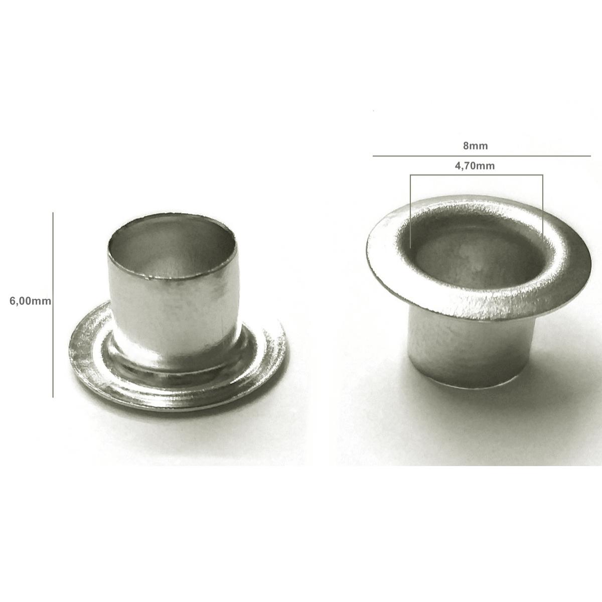 Ilhós Alumínio Prata com Aba Alta Nº 54 8mm de diâmetro externo