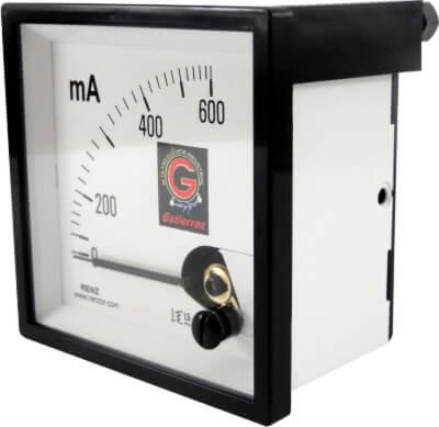 Miliamperímetro Analógico 600MA Frontal 72 x 72 FM72 Renz