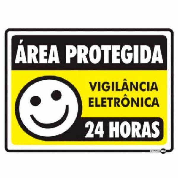 Placa PVC Área Protegida Vigilância Eletrônica 24 Horas 20 x 15 x 0,80mm