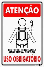 Placa PVC Atenção (Cinto de Segurança) Uso Obrigatório 200 x 300 x 0,80mm