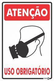 Placa PVC Atenção (mascara com Filtro) Uso Obrigatório 200 x 300 x 0,80mm