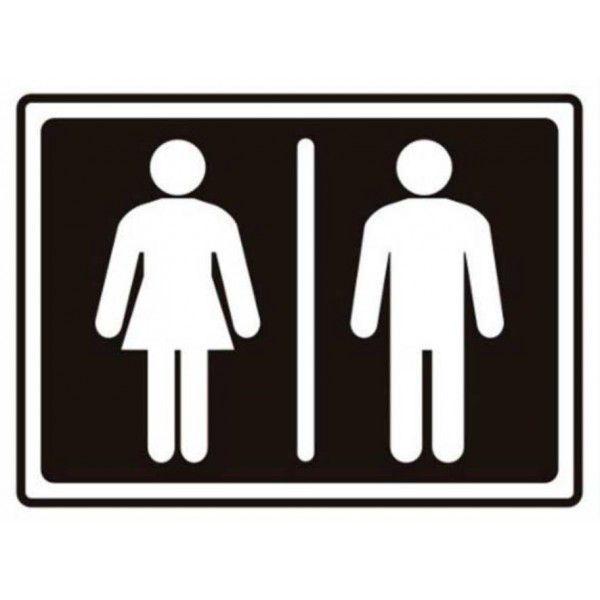 Placa PVC Banheiro Feminino / Masculino 200 x 150 x 0,80mm