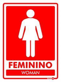Placa PVC Banheiro Feminino  Woman 200 x 150 x 0,8mm - Vermelho