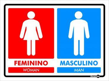 Placa PVC Banheiro Feminino/Woman - Masculino/Man 200 x 150 x 0,8mm - Vermelho / Azul
