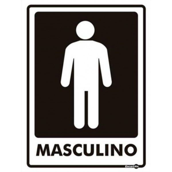 Placa PVC Banheiro Masculino 15 x 20 x 0,80mm