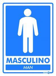 Placa PVC Banheiro Masculino Man 200 x 150 x 0,8mm - Azul