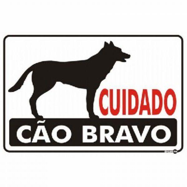 Placa PVC Cuidado Cão Bravo 30 x 20 x 0,80mm