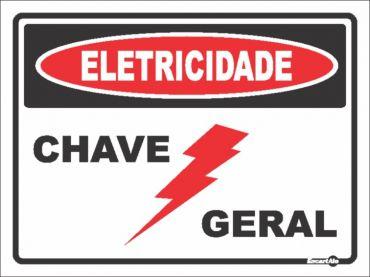 Placa PVC Eletricidade Chave Geral 200 x 150 x 0,8mm