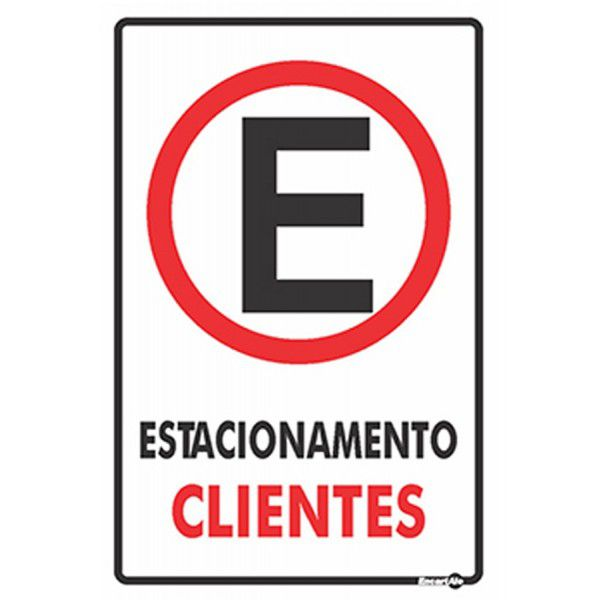 Placa PVC Estacionamento Clientes 20 x 30 x 0,80mm