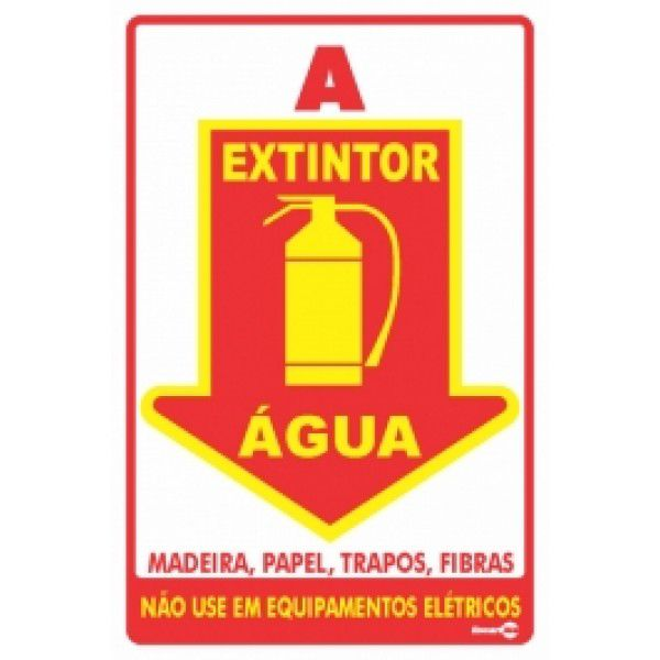 Placa PVC Extintor Água 20 x 30 x 0,80mm