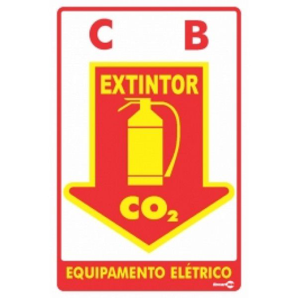 Placa PVC Extintor C0² 200 x 300 x 0,80mm