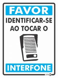 Placa PVC Favor Identificar-se no Interfone 150 x 200 x 0,80mm