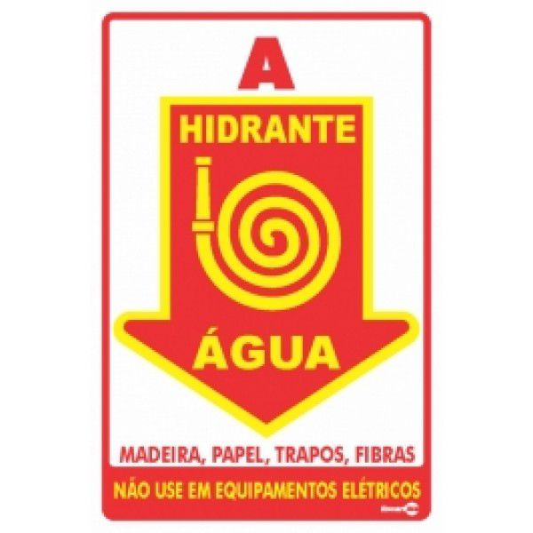 Placa PVC Hidrante Água 20 x 30 x 0,80mm