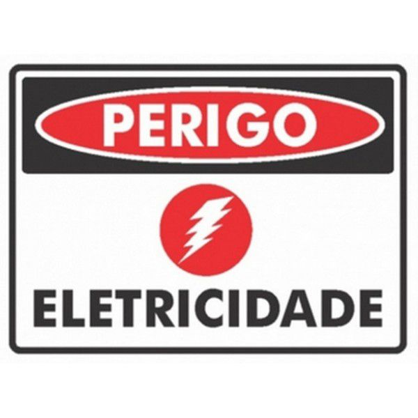 Placa PVC Perigo Eletrcidade 20 x 15 x 0,80mm