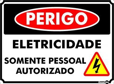 Placa PVC Perigo Eletricidade Somente Pessoal Autorizado 200 x 150 x 0,80mm