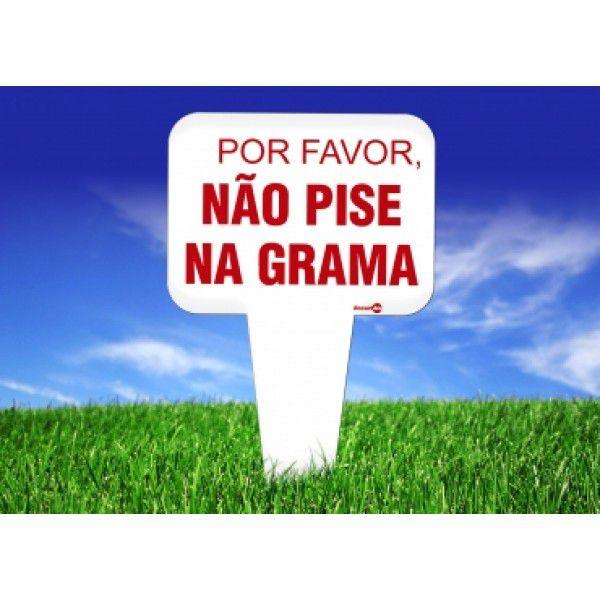 Placa PVC Por Favor não pise na grama 16,5 x 29 x 1,5mm