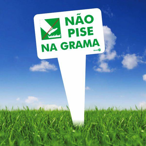 Placa PVC Por Favor Não Pise na Grama verde 165 x 290 x 1,5mm