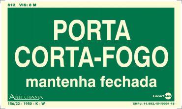 Placa PVC Porta Corta Fogo Fotolito 250 x 150 x 0,80mm