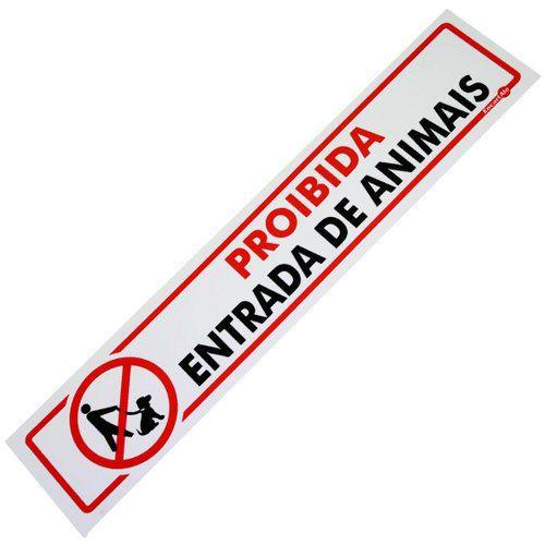 Placa PVC Proibida Entrada de Animais 30 x 6,50 x 0,80mm
