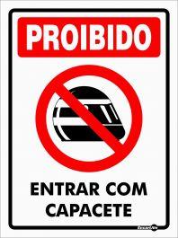 Placa PVC Proibido Entrar com Capacete 150 x 200 x 0,80mm