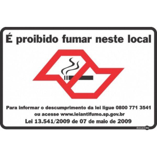 Placa PVC Proibido Fumar Mapa SP 300 x 200 x 0,80mm