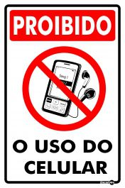 Placa PVC Proibido Uso do Celular 200 x 300 x 0,80mm