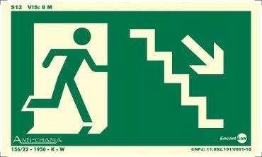 Placa PVC Rota de Fuga Escada Des. Dir. Fotolito 250 x 150 x 0,80mm