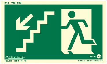 Placa PVC Rota de Fuga Escada Des. Esq. Fotolito 250 x 150 x 0,80mm