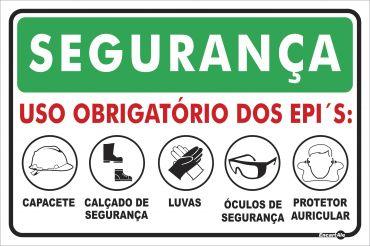 Placa PVC Segurança Uso Obrigatório (Capacete/Bota/Luva/Oculos/Proteção de Ouvido)  300 x 200 x 0,80mm