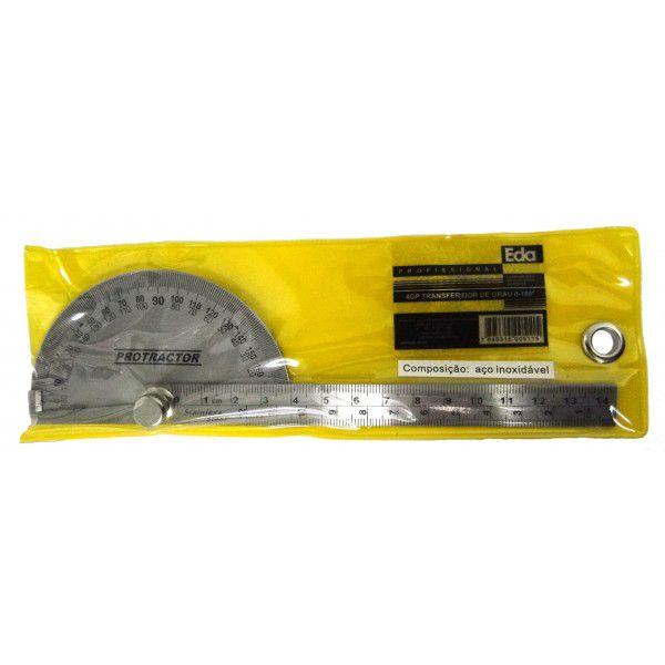 Transferidor de Grau em Aço com Régua 14cm Eda 0-180º 4GP